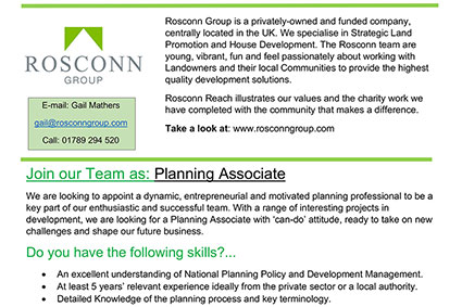 News - Planning Associate Opportunity