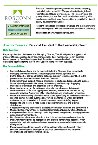 Careers - Personal Assistant Leadership Team - Job Description